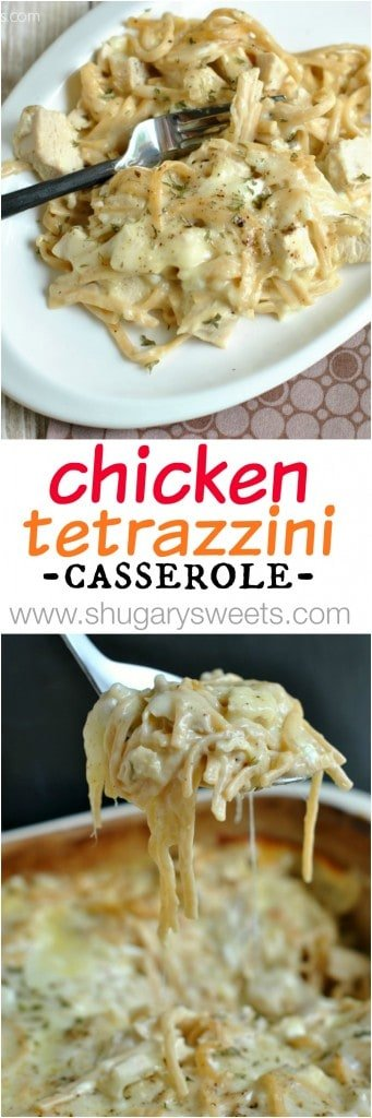 Cheesy, Chicken Tetrazzini. One of our favorite meals, perfect for serving a crowd too! EASY and DELISH! #dinnerideas #chickendinner