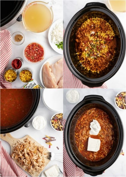Step by step photos for chicken taco soup