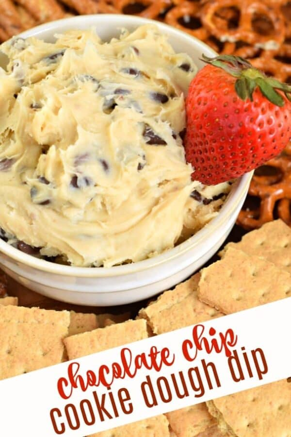 Chocolate Chip Cookie Dough Dip tastes like cookie dough and is totally safe to eat. Easy no bake recipe. Whip up a batch of this chocolate chip cookie dough dip and enjoy as a yummy dip or alone with a spoon!