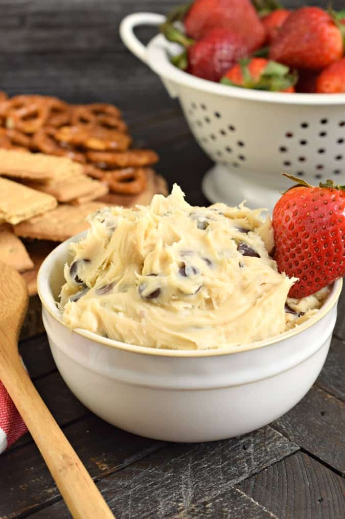 Cookie Dough dip in a bowl with a spoon.