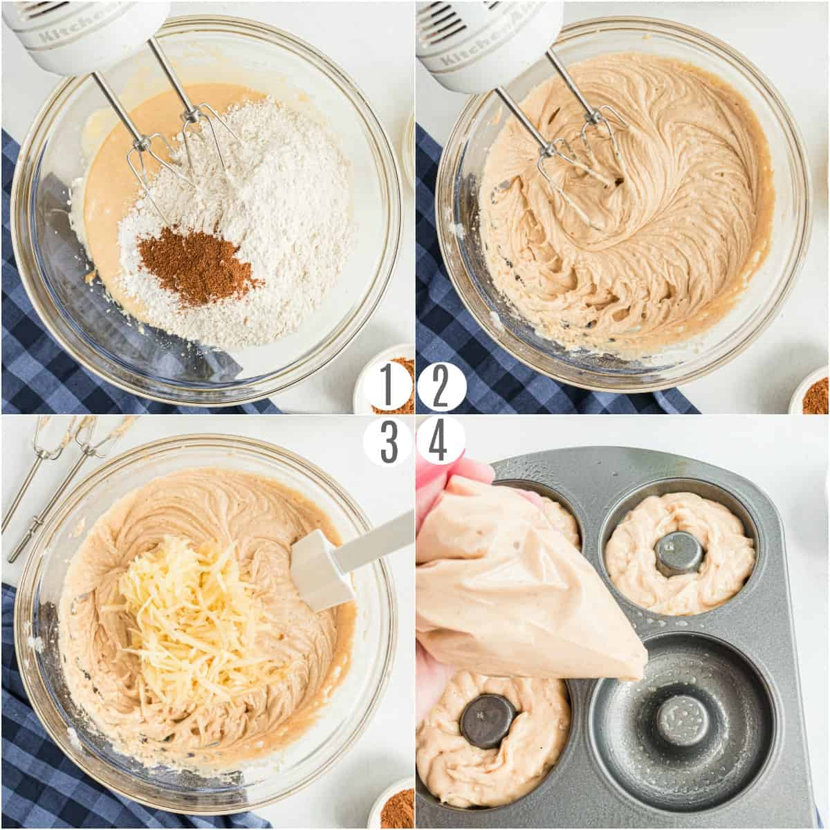 Step by step instructions to make apple cider donuts in the oven.