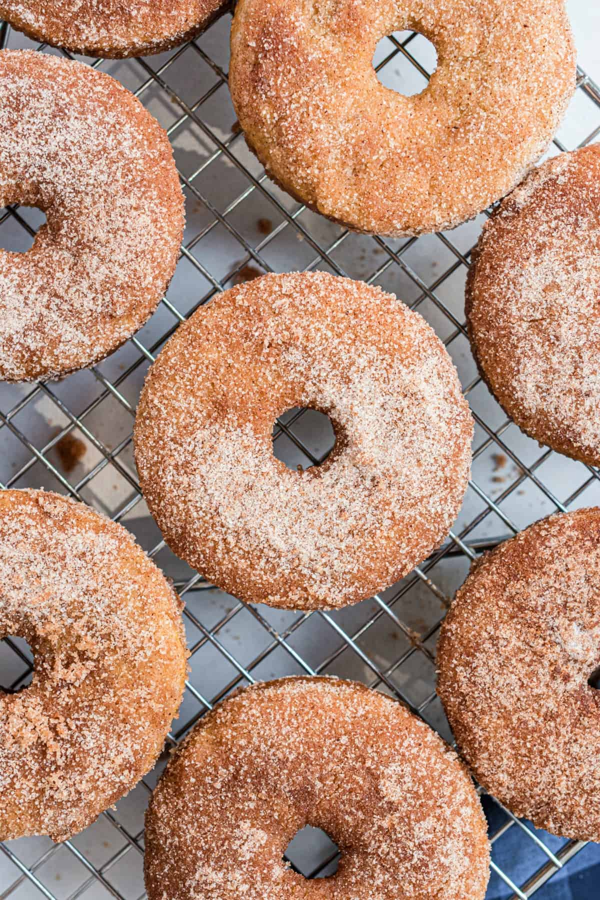 Apple cider donuts with cinnamon sugar coating on wire rack.