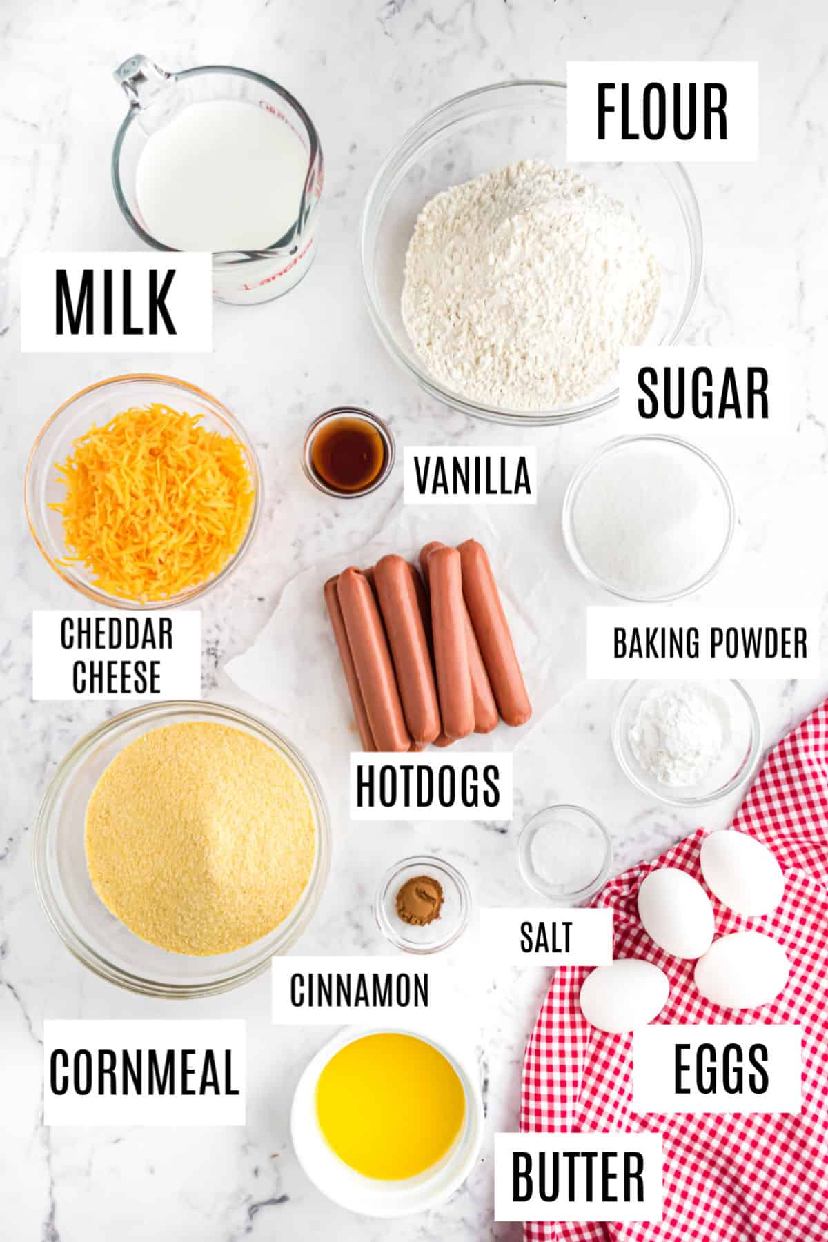 Ingredients needed for homemade corn dog muffins.