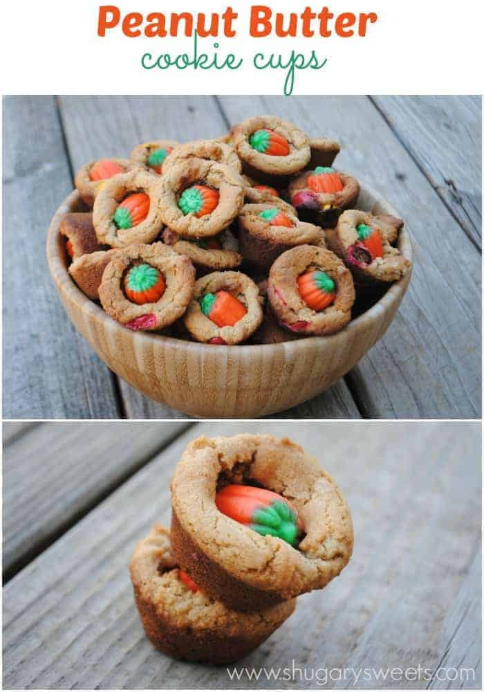 Peanut Butter Cookie Cups: peanut butter cookies with m&m's and Candy corn #halloween