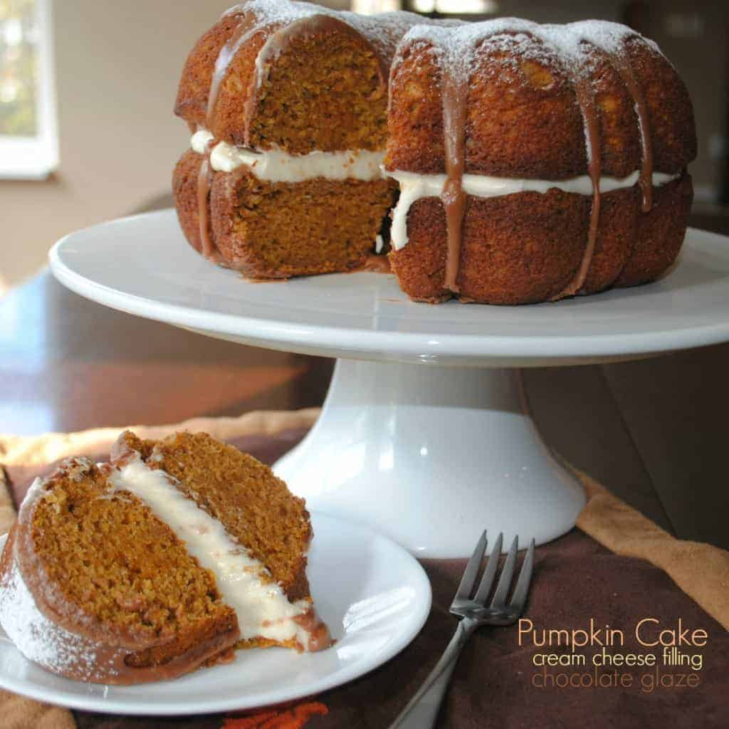 Cake: moist pumpkin bundt cake with cream cheese filling and chocolate ...