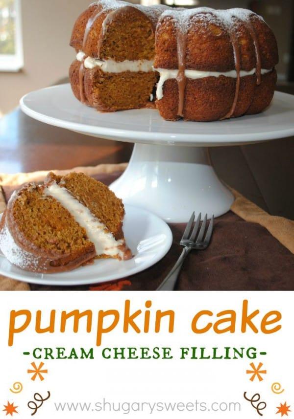 Pumpkin Cake: moist pumpkin bundt cake with cream cheese filling and chocolate ganache!