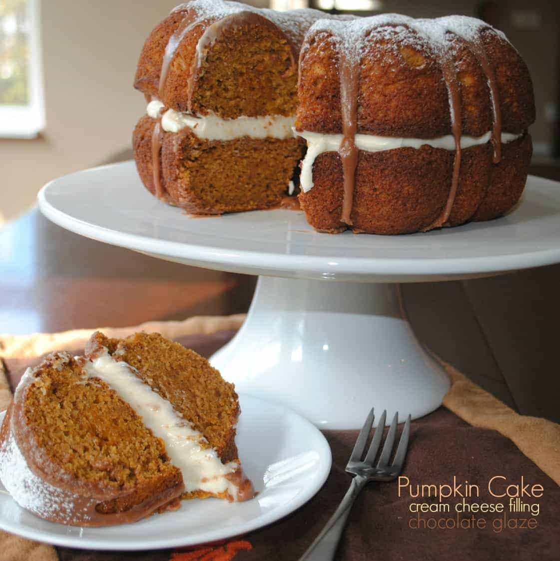 Pumpkin Cake With Cream Cheese Filling And Chocolate Ganache