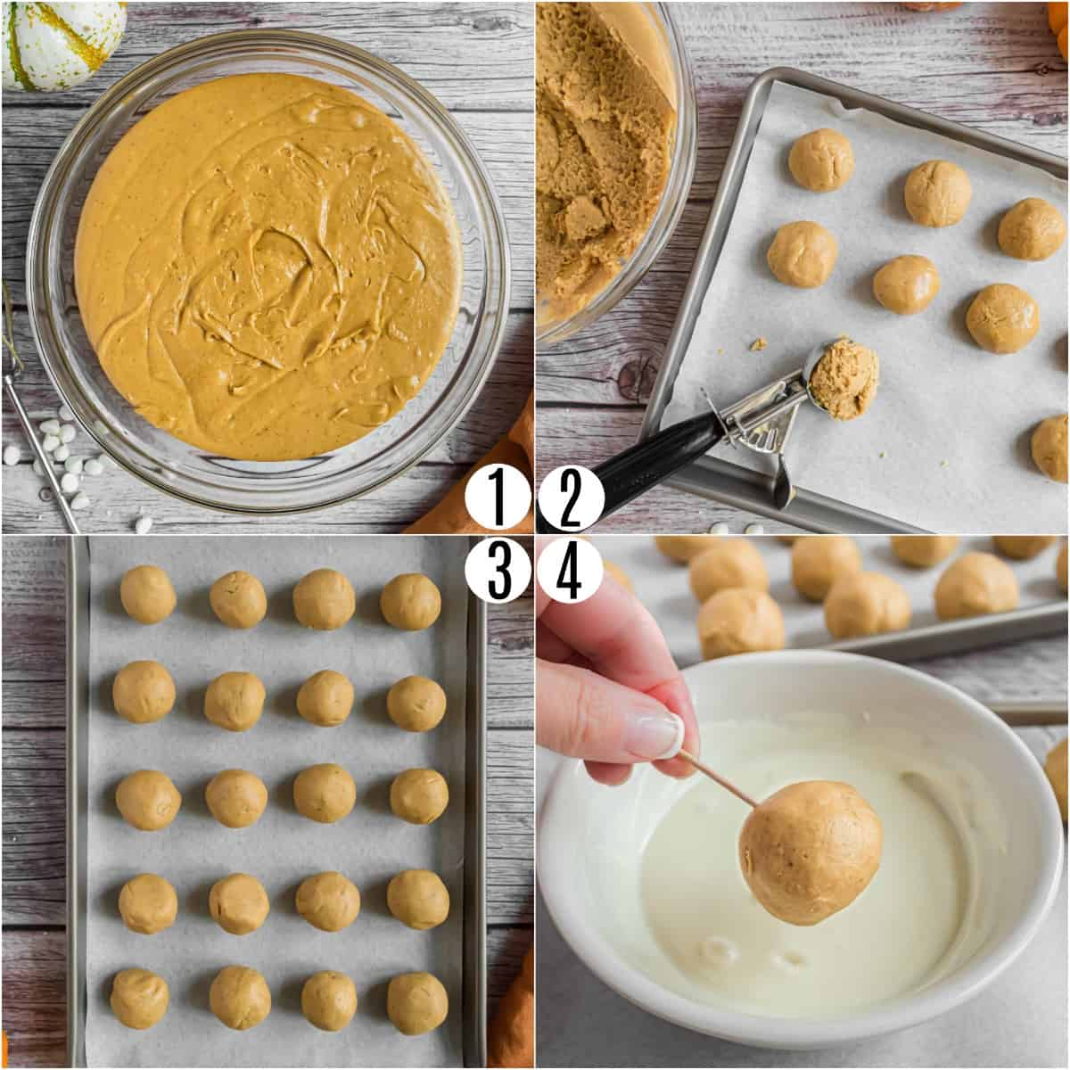 Step by step photos showing how to dip pumpkin truffles.