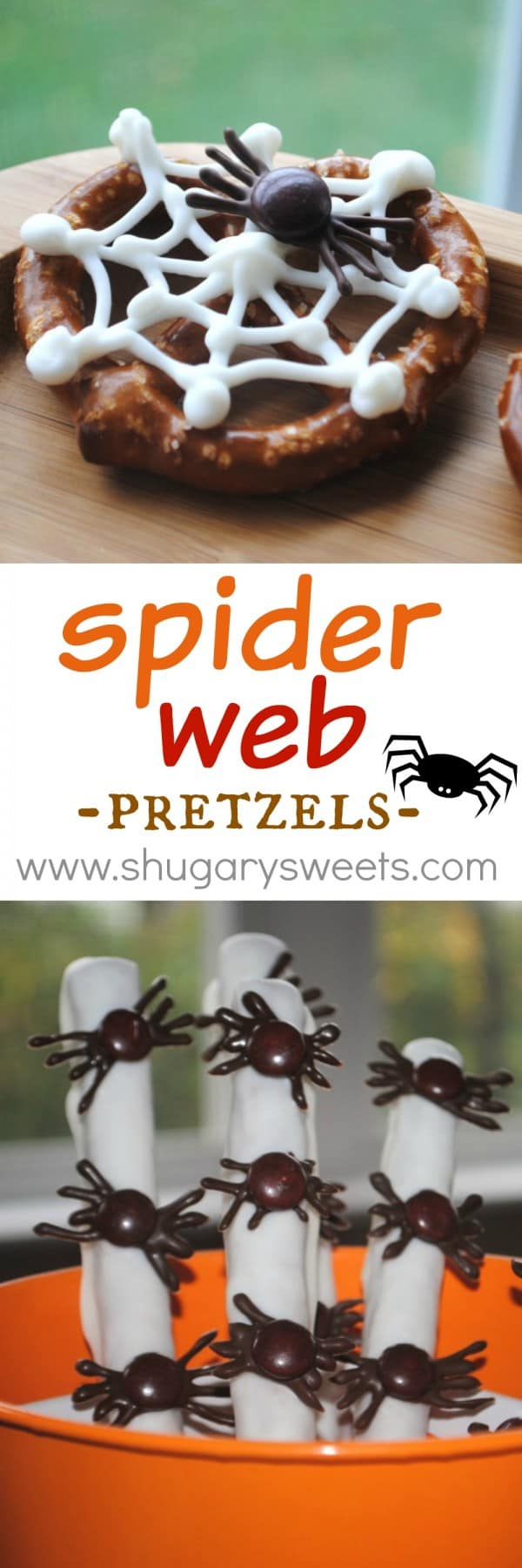 Spider Web Pretzels: with just a couple items, you can make these tasty, creepy treats. Pretzels, white chocolate, M&M's, and chocolate chips