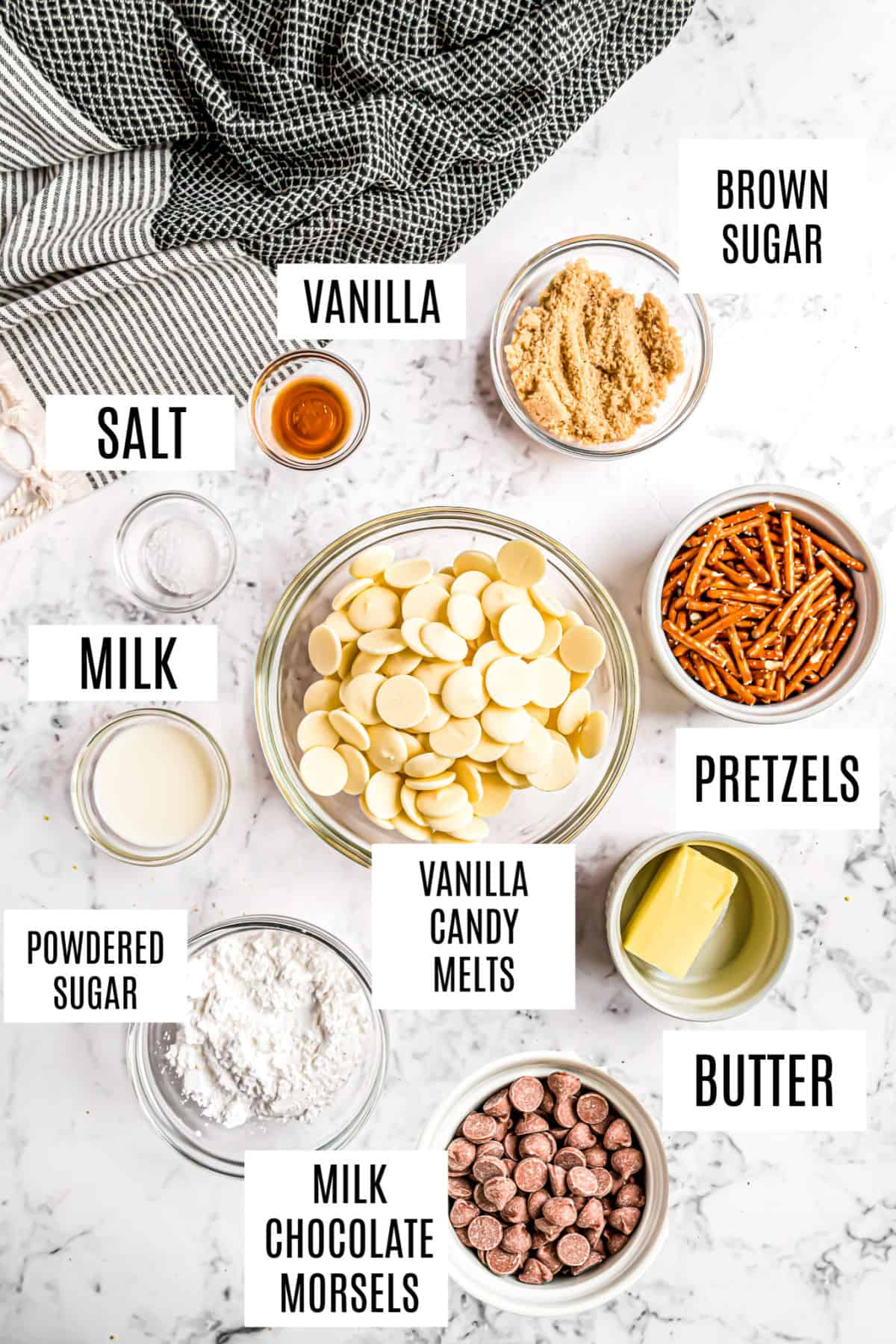 Ingredients needed to make salted caramel bark candy.