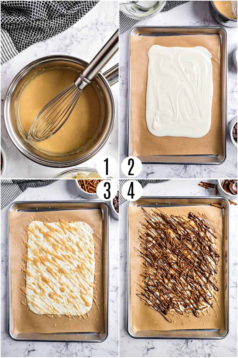 Step by step photos showing how to make salted caramel candy.