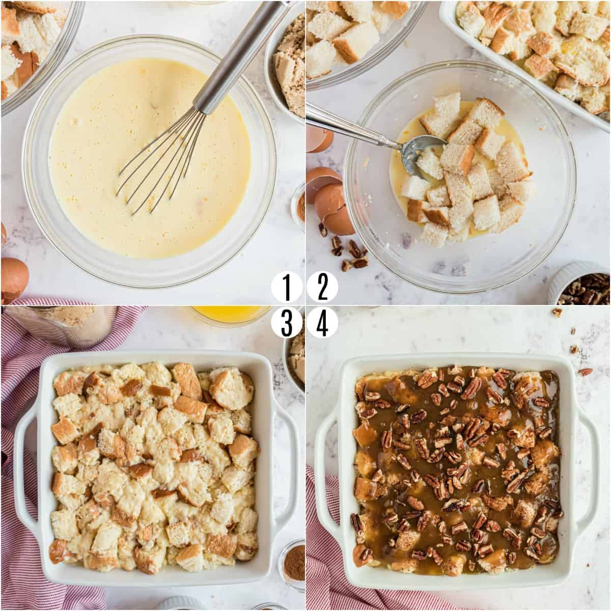 Step by step photos showing how to make eggnog french toast casserole.