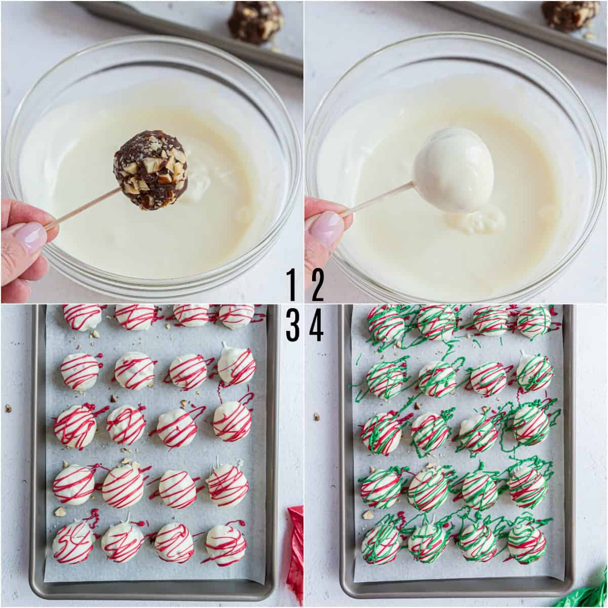 Photos showing how to dip almond truffles.