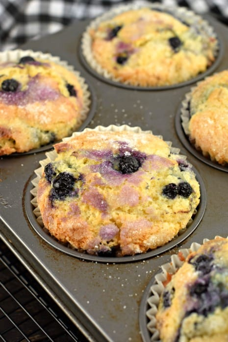 Jumbo blueberry muffins in a metal baking tin.