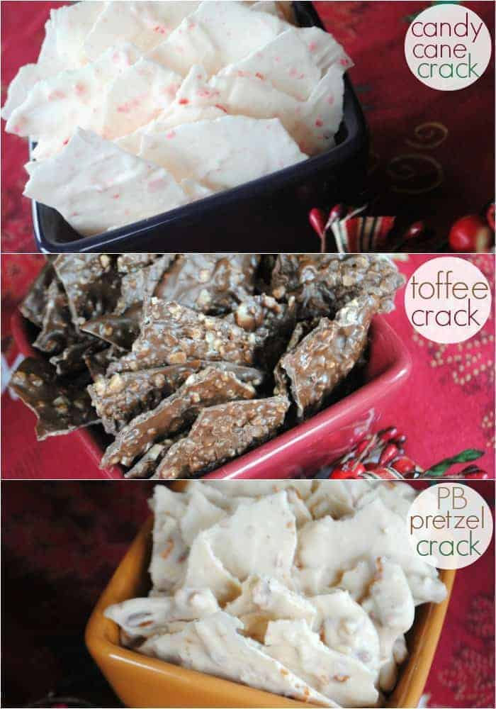 Thin chocolate bark made 3 ways: peppermint, toffee and peanut butter pretzel