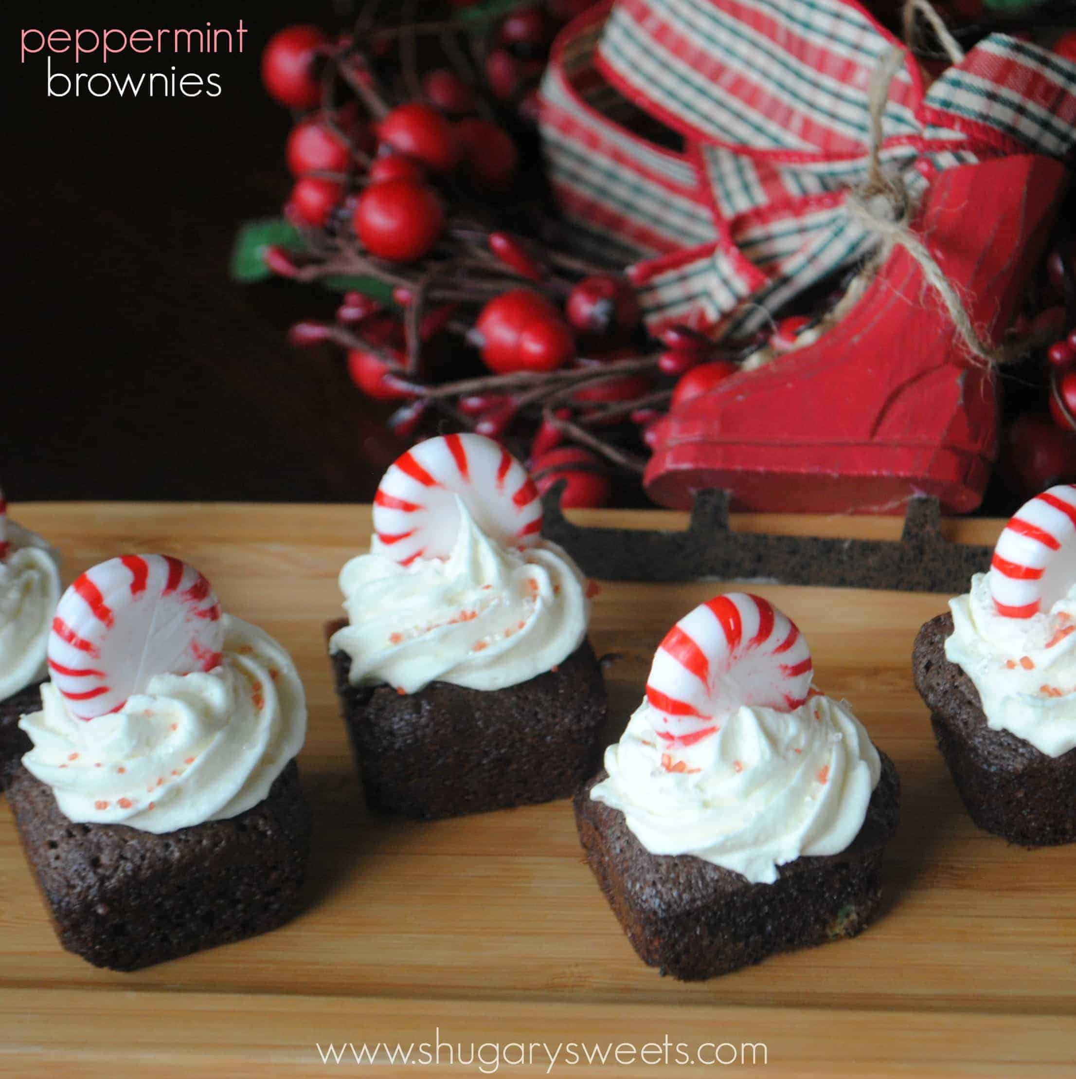 Chocolate Brownies with Peppermint White Chocolate Frosting