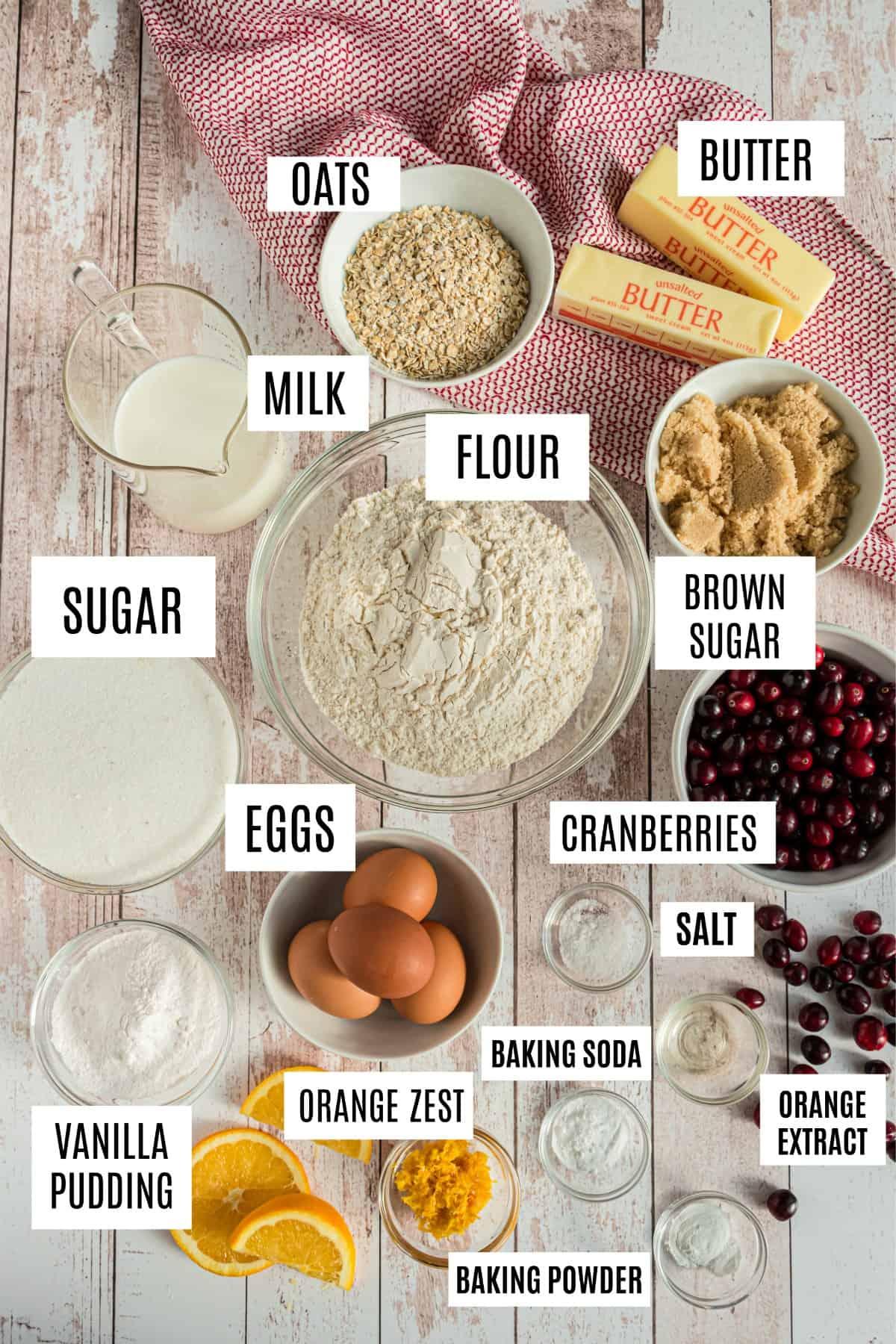 Ingredients needed to make Cranberry orange muffins.