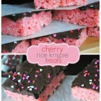 Cherry Krispie Treats with Dark Chocolate