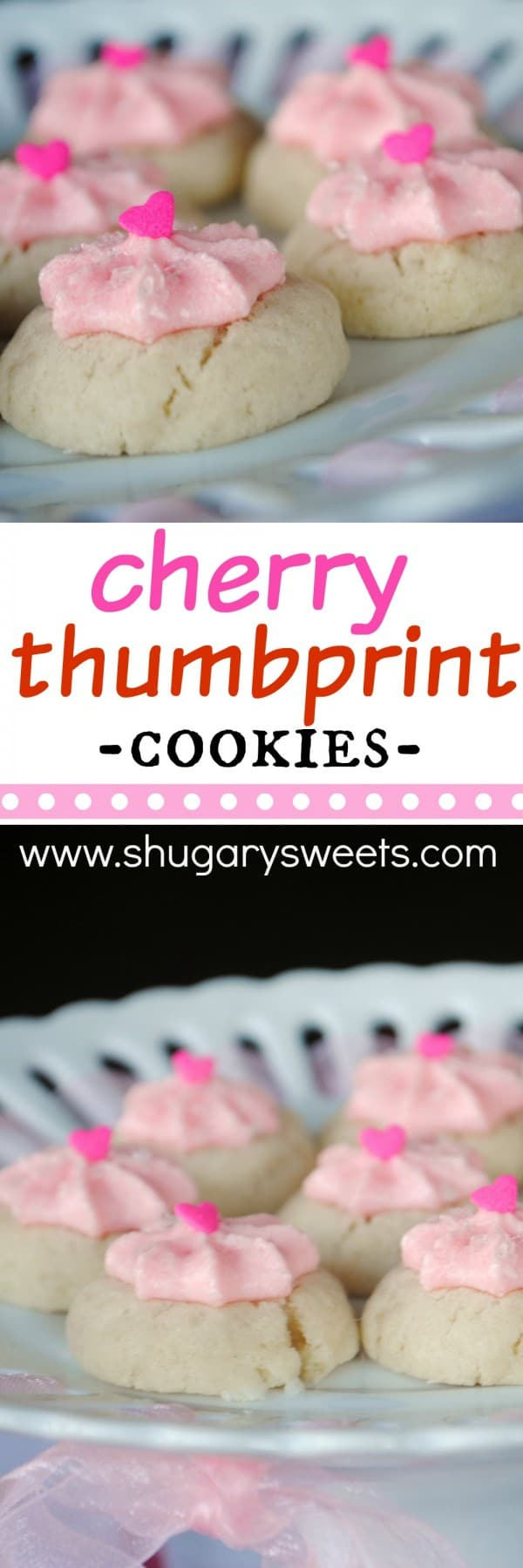 These delicious, delicate Thumbprint Cookies are topped with a sweet pink Cherry Buttercream Frosting!