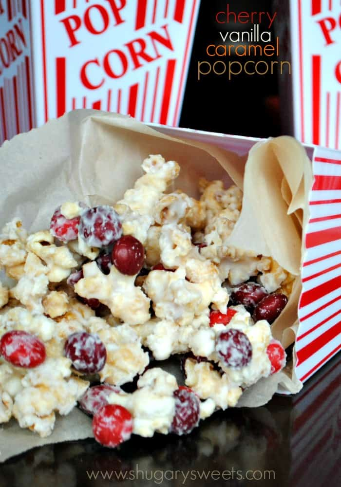 Cherry Vanilla Caramel Corn: homemade caramel corn recipe topped with vanilla candy coating and cherry candies!