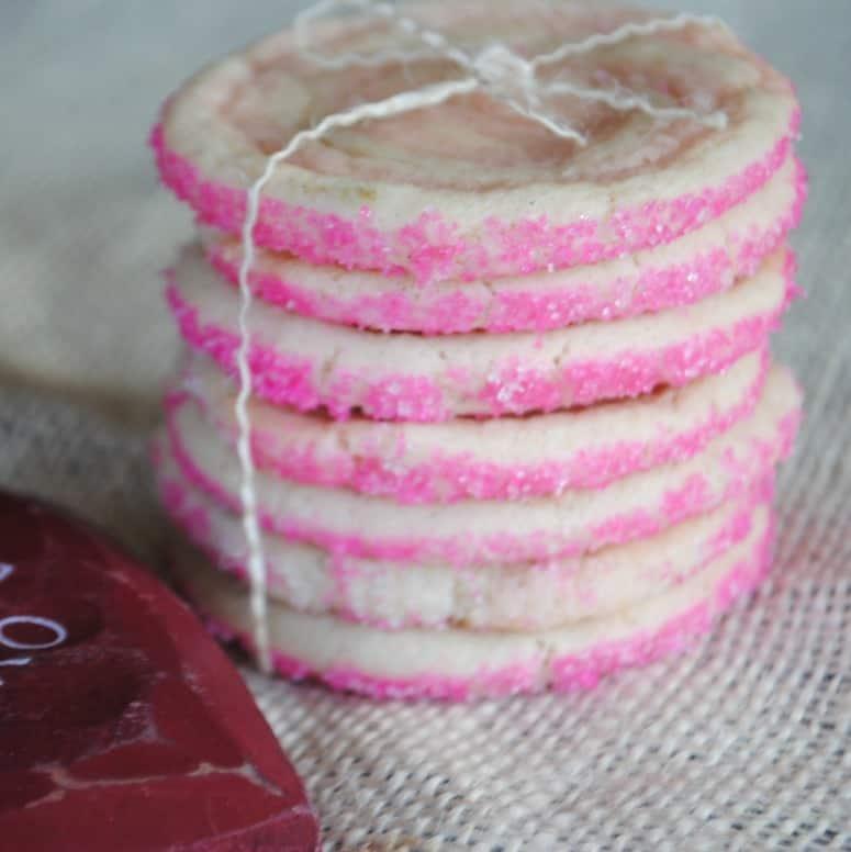 Cherry and Vanilla Bean swirled Icebox cookies