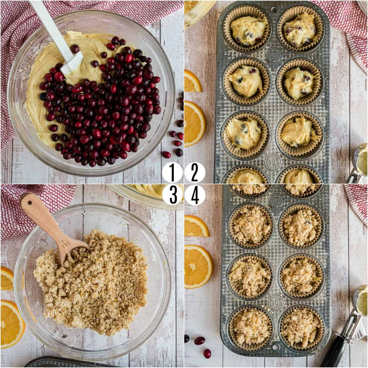 Step by step photos showing how to make cranberry orange muffins.