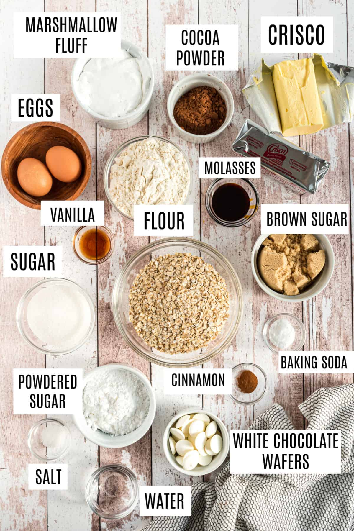 Ingredients needed for football shaped oatmeal cream pies.