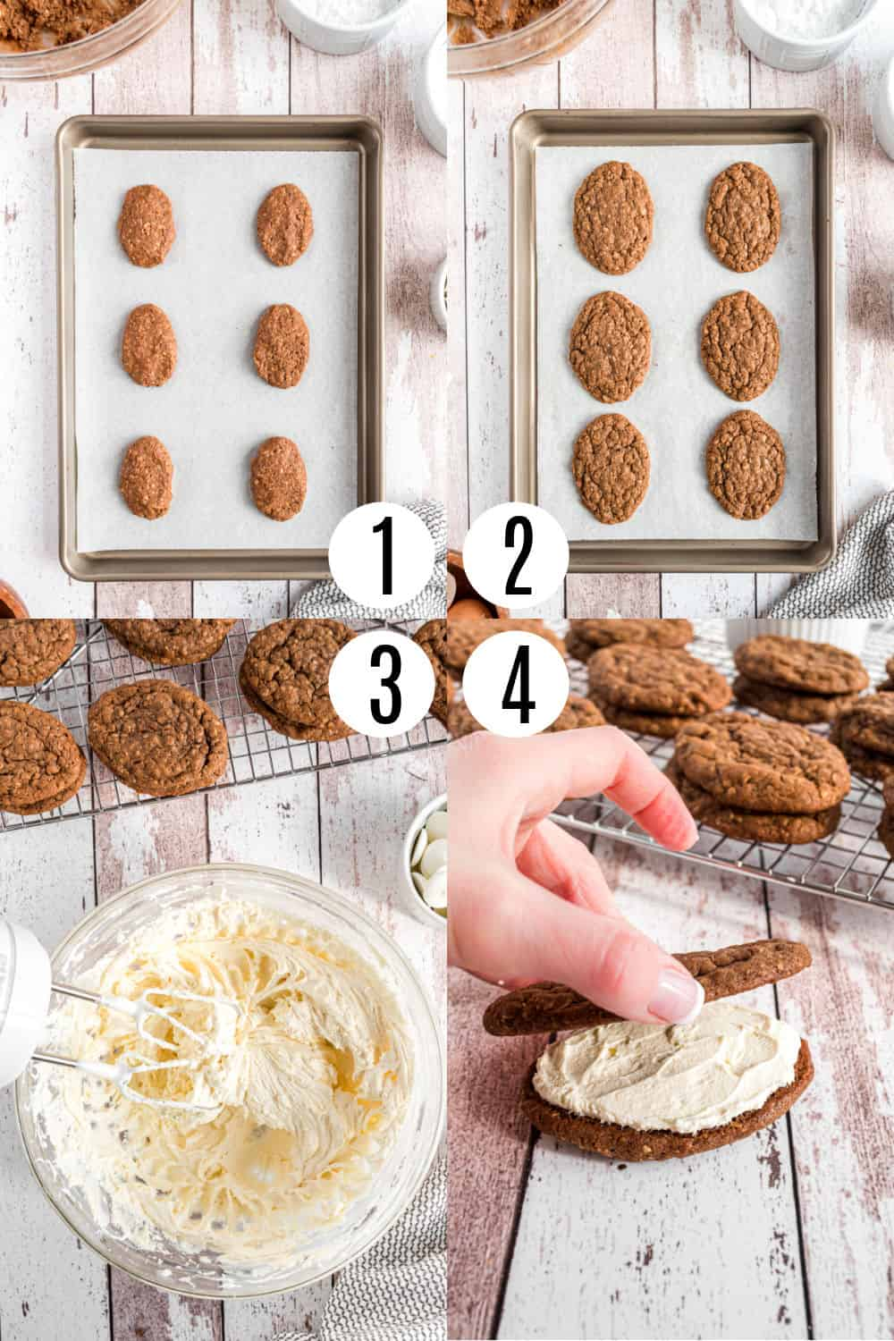 Step by step photos showing how to make football shaped chocolate oatmeal cream pies.