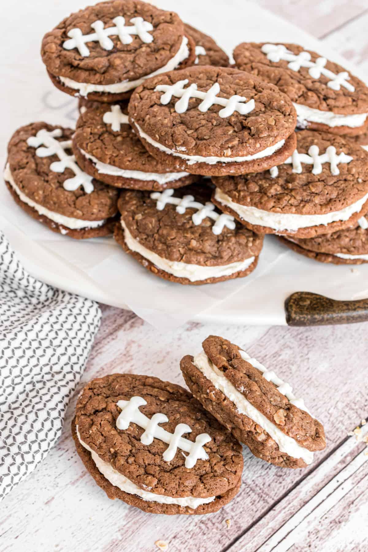 Chocolate oatmeal cream pies shaped like a football.
