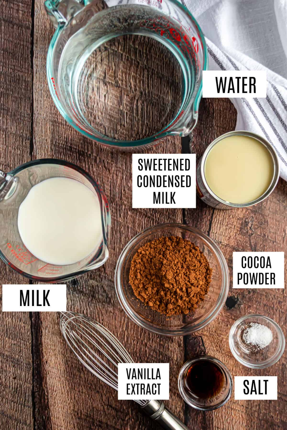 Ingredients needed for homemade hot chocolate.