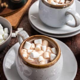 Homemade hot cocoa in a mug with marshmallows.