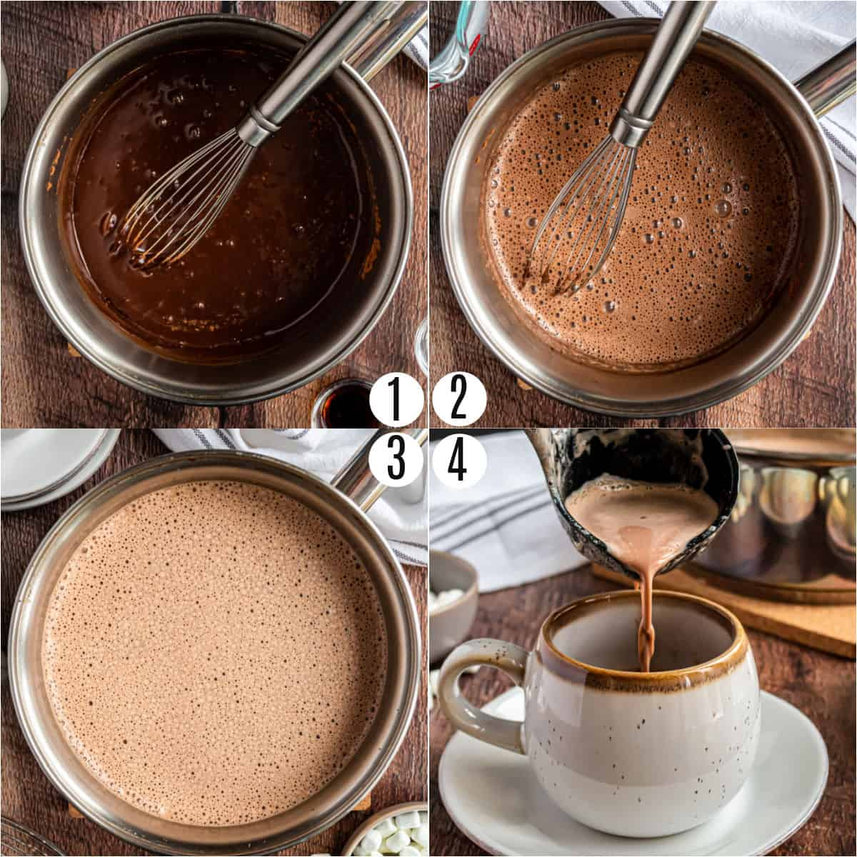 Step by step photos showing how to make homemade hot chocolate.