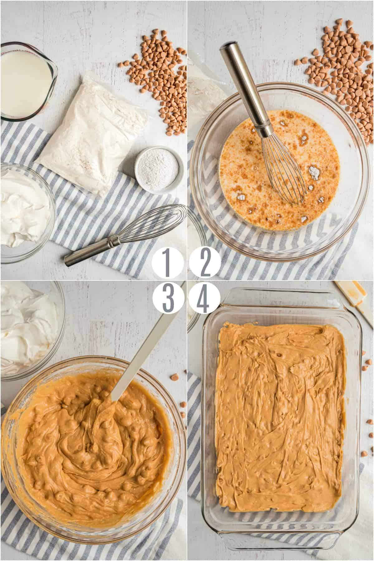 Step by step photos showing how to make a butterscotch pudding cake.