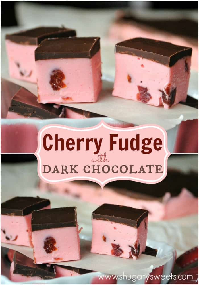 Soft Cherry Fudge recipe topped with a dark chocolate ganache!