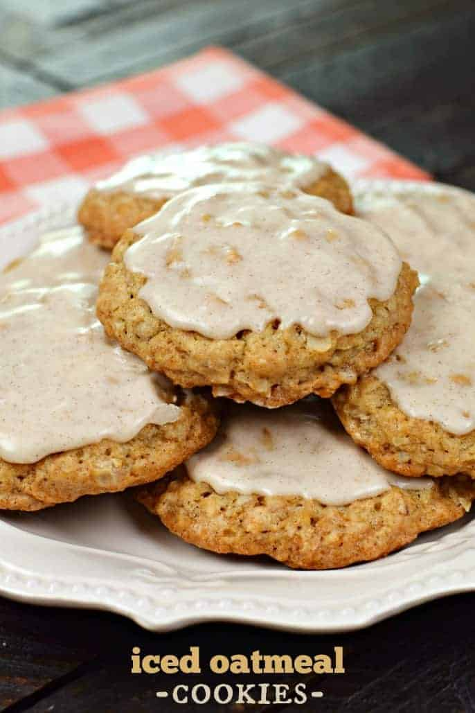 Delicious, copycat Iced Oatmeal Cookies. Crunchy on the outside, chewy on the inside, these glazed Oatmeal cookies are a hit!