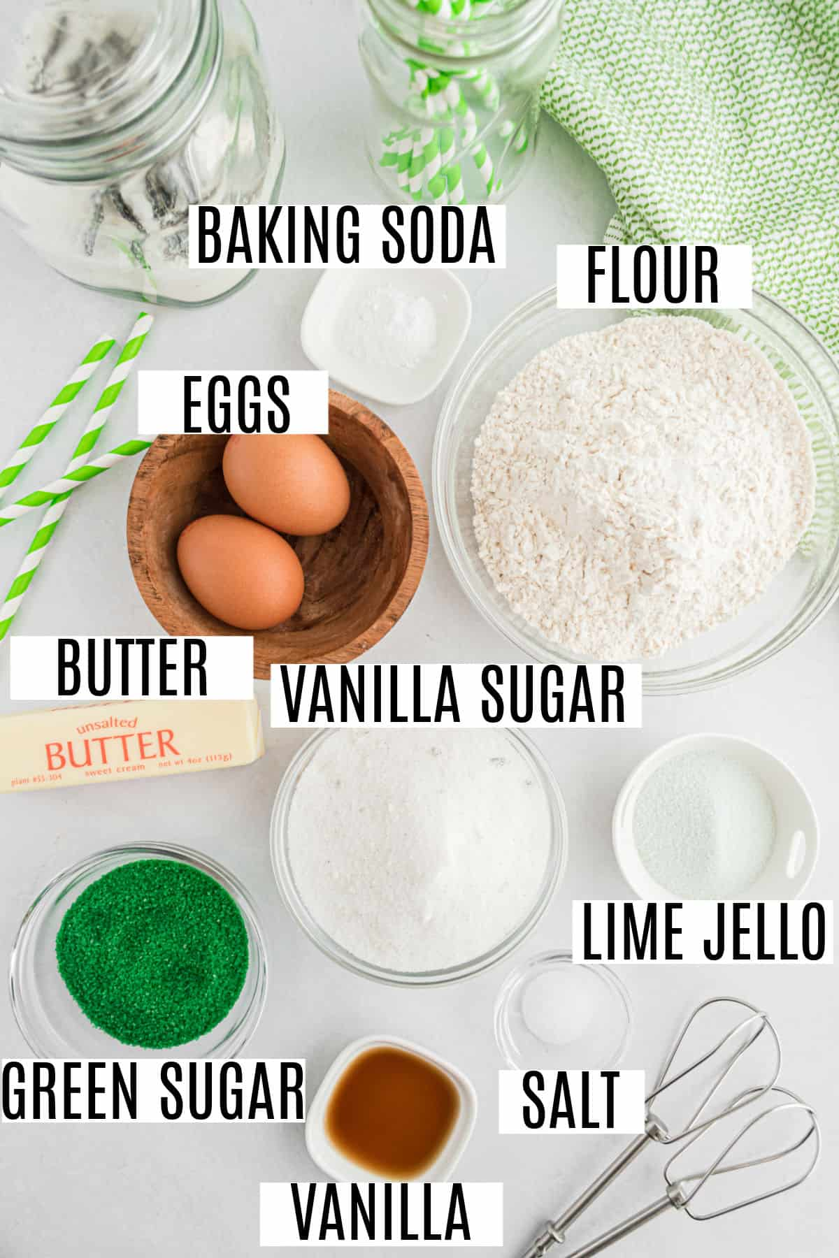 Ingredients needed for lime swirled icebox cookies.