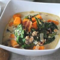 Sausage, Spinach, Sweet Potato Soup with Rye Rolls