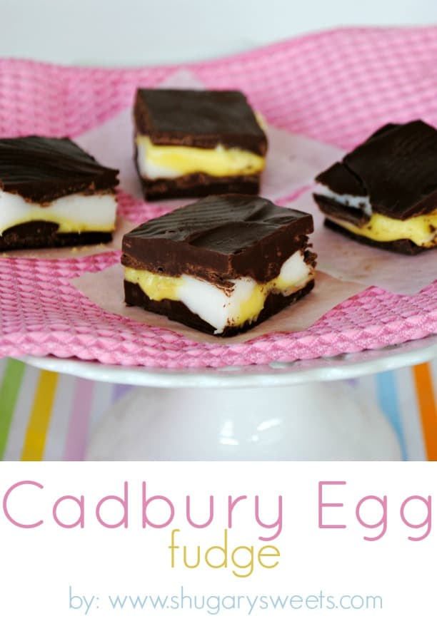 Bite size pieces of cadbury egg fudge on a pink napkin.