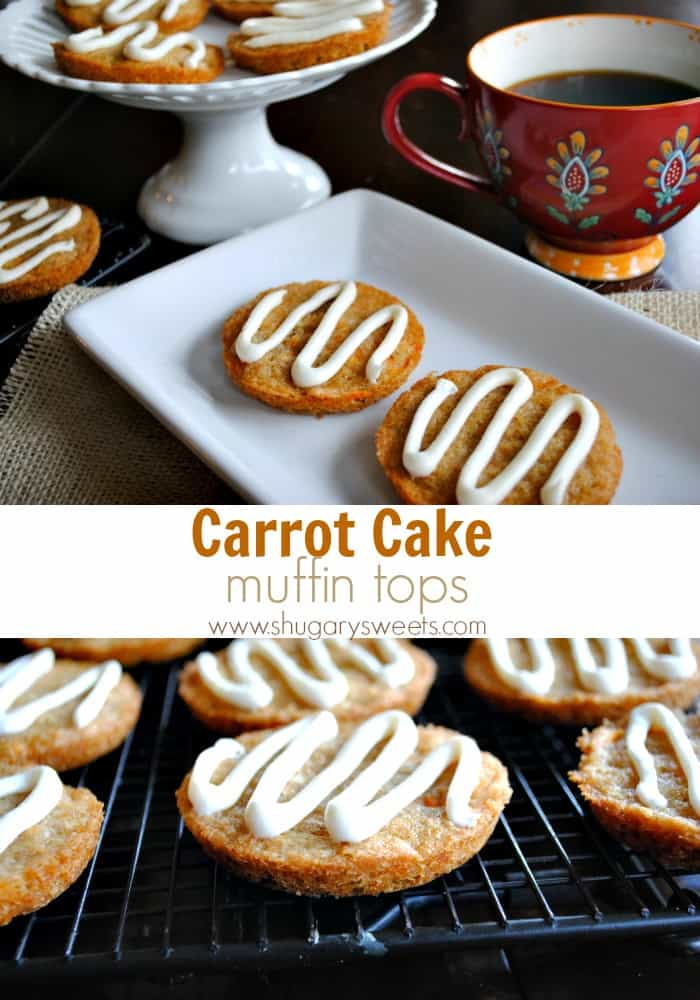 Carrot Cake Muffin Tops recipe with a cream cheese drizzle