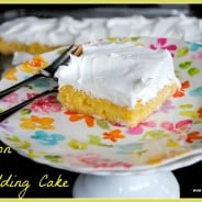 Lemon Pudding Cake- easy lemon cake mix combined with lemon #pudding, baked and topped with Cool Whip #JELL-O