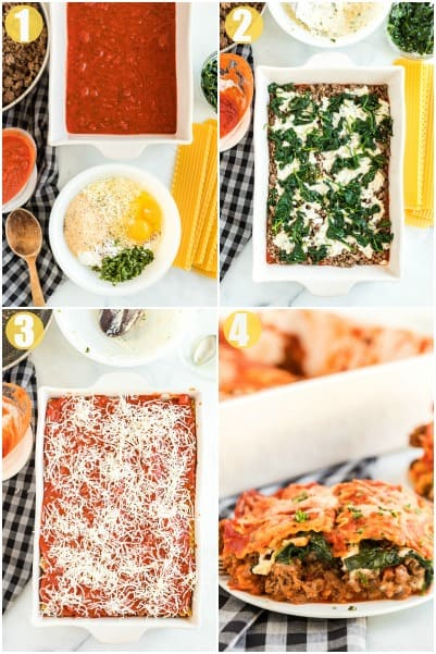 Step by Step How to make spinach lasagna with meat sauce.