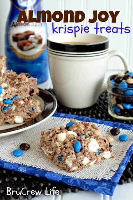 Almond Joy Rice Krispie Treats- packed with coconut flavor, chocolate, almond and gooey marshmallow!