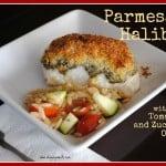 Parmesan Halibut with Tomato and Zucchini Orzo