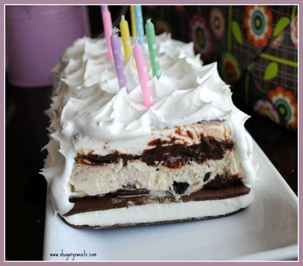 Ice Cream Cake: easy cake made from ice cream sandwiches, hot fudge and whipped cream!