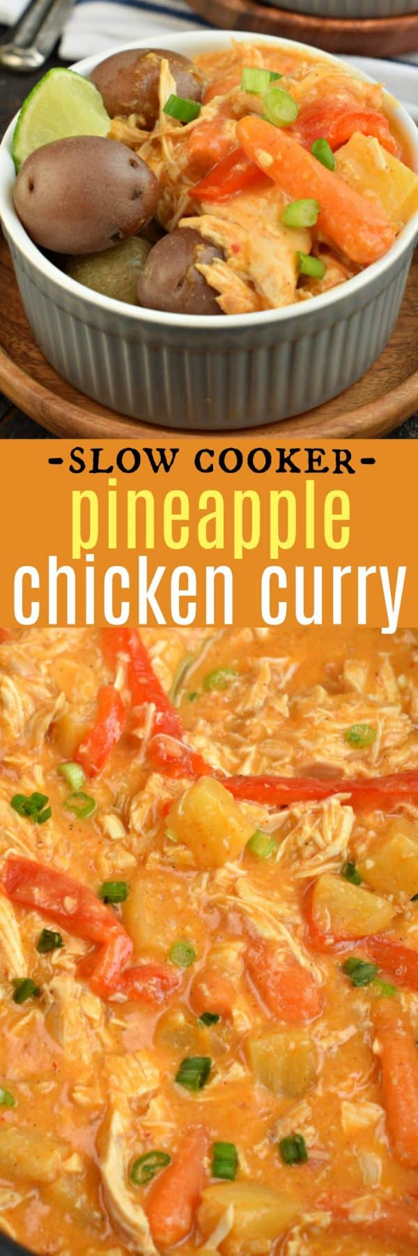 Slow Cooker Pineapple Chicken Curry is an easy Thai dish loaded with flavor. This curry recipe is packed with coconut milk, red curry paste, and ginger to give and aroma and flavor that's better than a restaurant!