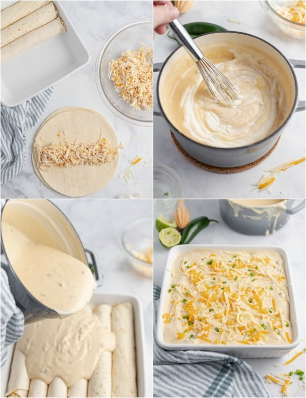 Step by step photos for making chicken lime enchiladas