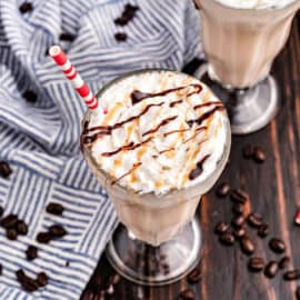 An ice cold sweet treat that's sure to perk you up! This Caramel Coffee Milkshake tastes like an even creamier frappuccino. Best of all, it's easy to make at home.