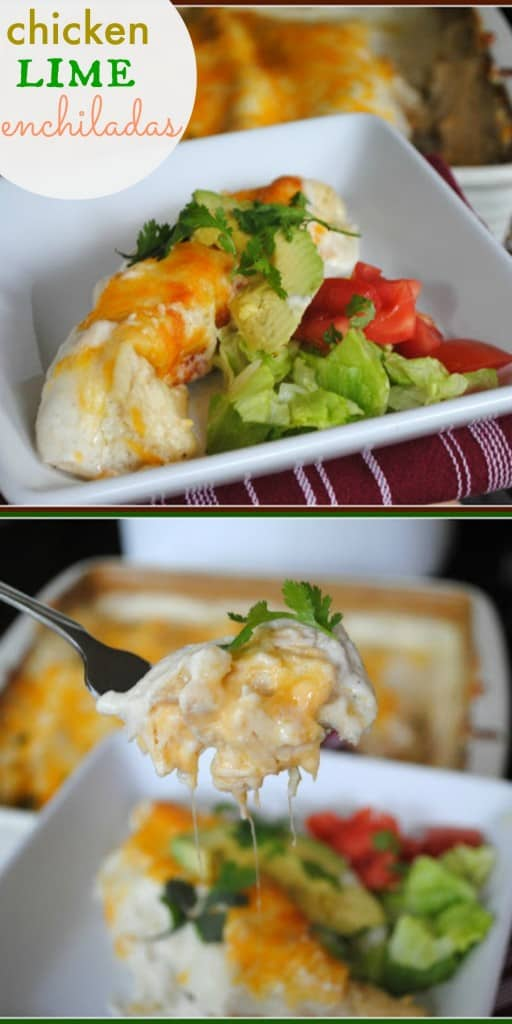 Chicken Lime Enchiladas. These are SO DELICIOUS and easy to make!