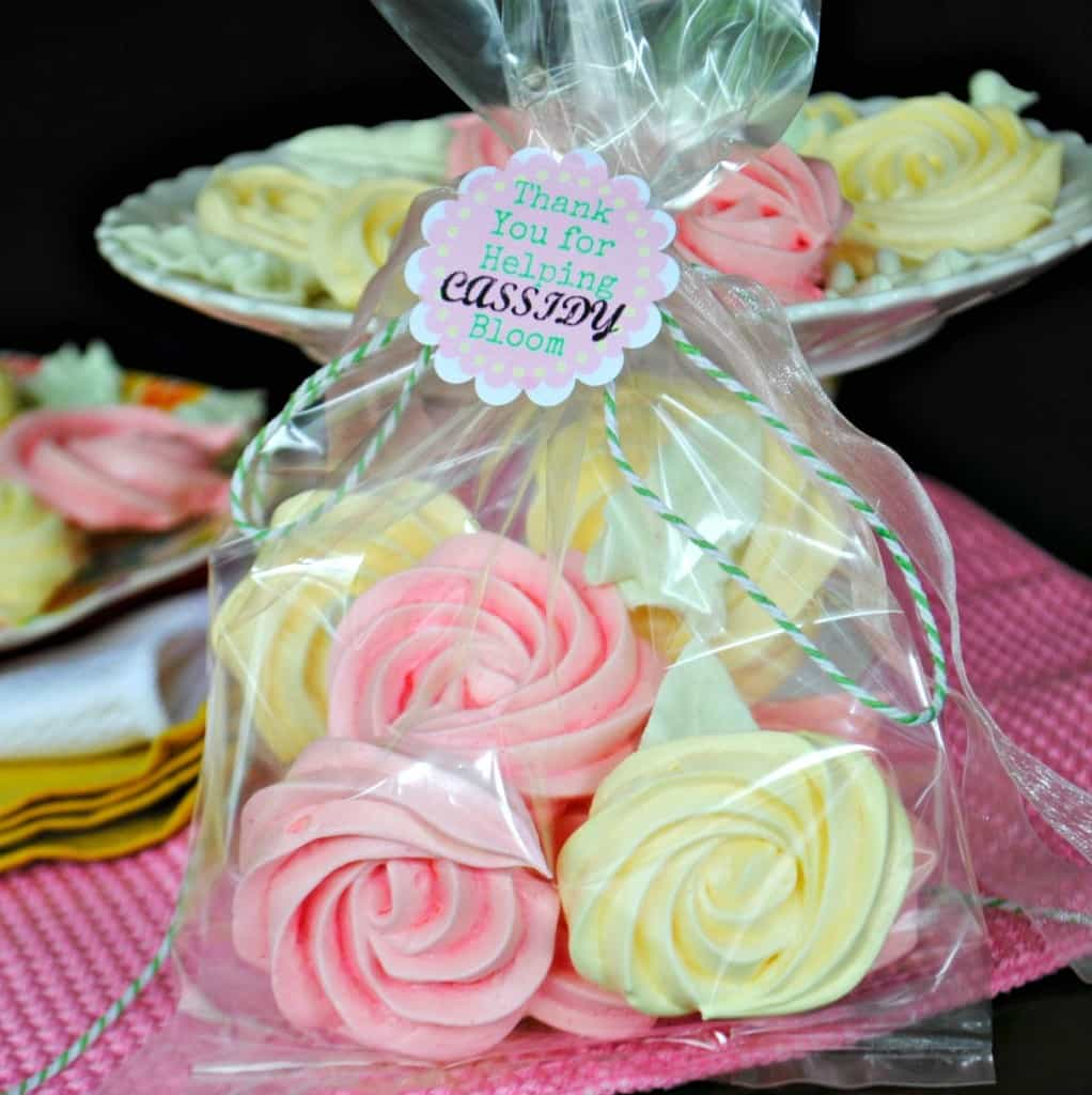 Meringue Roses Cookies: flavored with gelatin, these cookies are a perfect treat! Great for a teacher gift idea too.