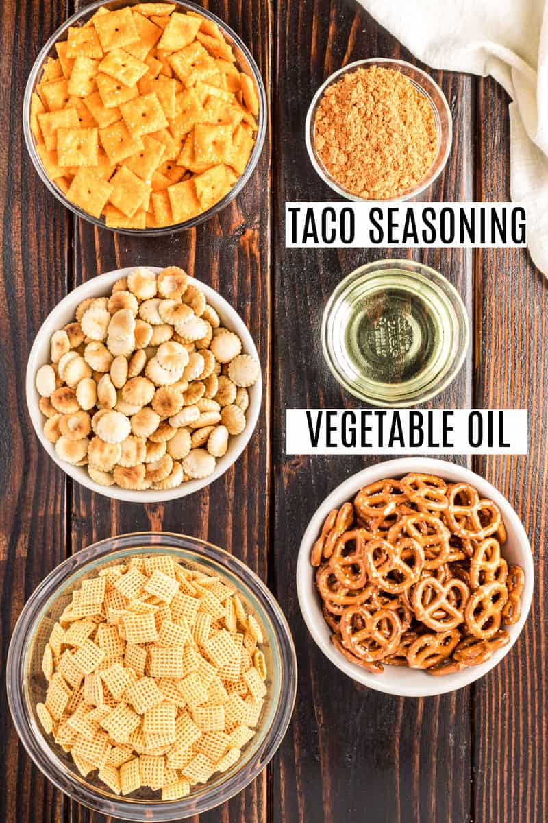 Ingredients needed to make homemade spicy chex mix.